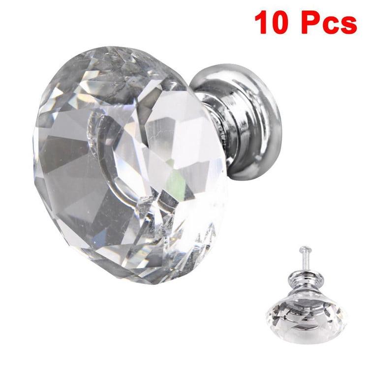 10Pcs 30mm Diamond Shape Crystal Glass Knob Cupboard Drawer Pull Handle Pull Handle New Kitchen Door Knob Accessories