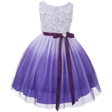 41fcaf8e826 Tulle Rosette Spring Easter Flower Girl Dress in Ombre Purple - 2