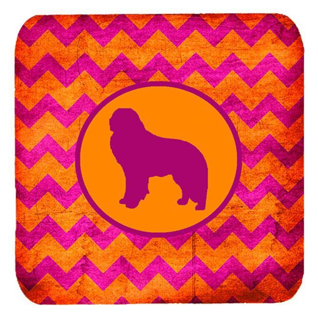 Carolines Treasures SDK1138-B-FC Kuvasz Chevron Pink And Orange Foam Coasters, Set Of 4 - image 1 de 1