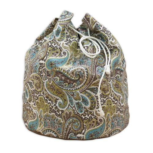 "Paisley Chocolate 20"" Round Laundry Bag with Grommets and Tie Closure"