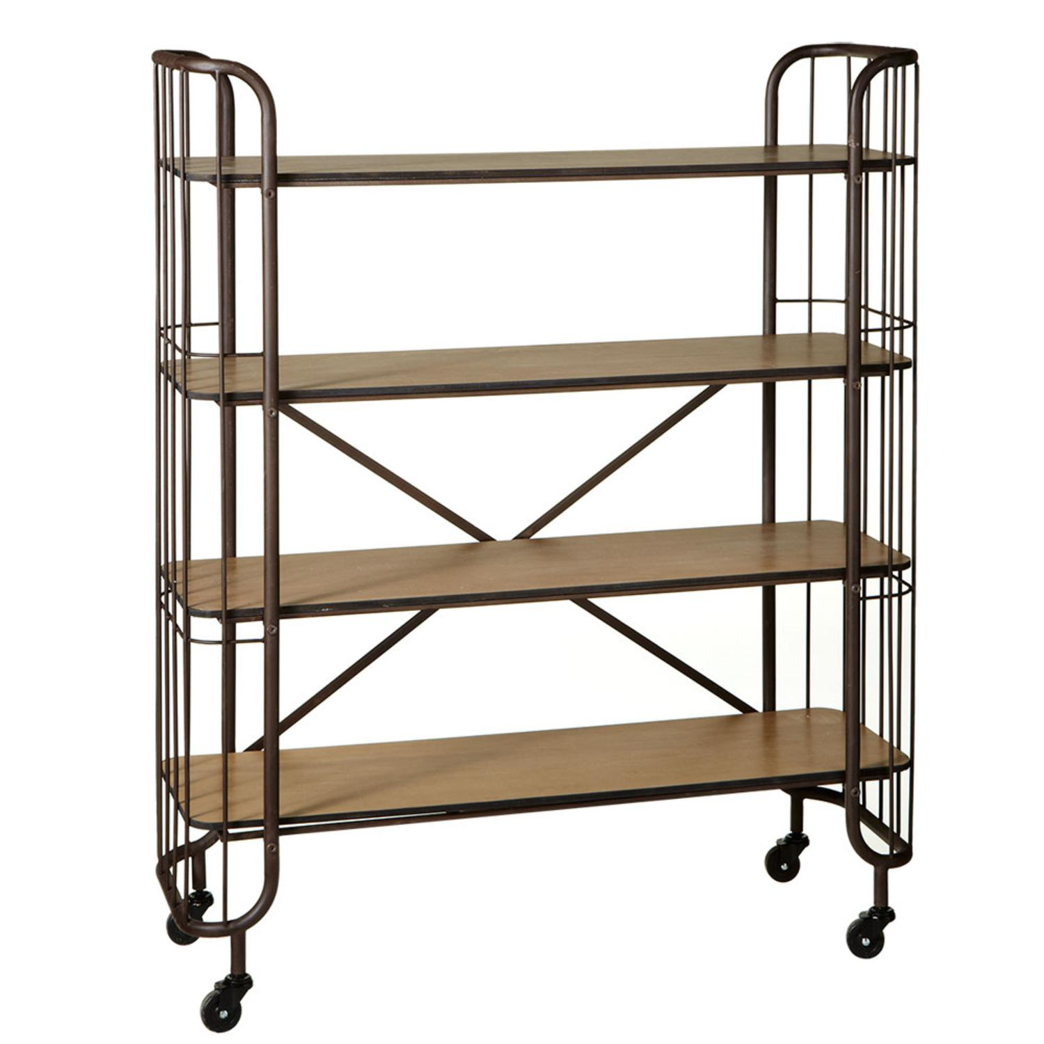 "47"" Brown Wood and Metal Four Tier Shelf On Wheels with Knock Down"