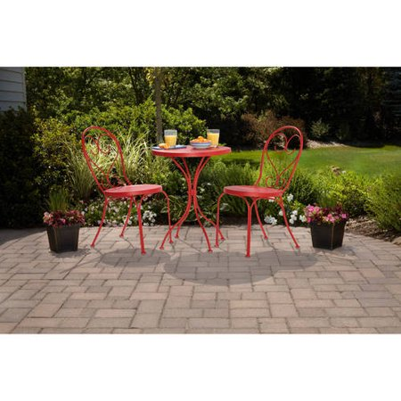 Mainstays 3 Piece Small Space Scroll Outdoor Bistro Set