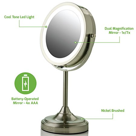 Ovente Led Lighted Tabletop Makeup Mirror 7 Inch Dual