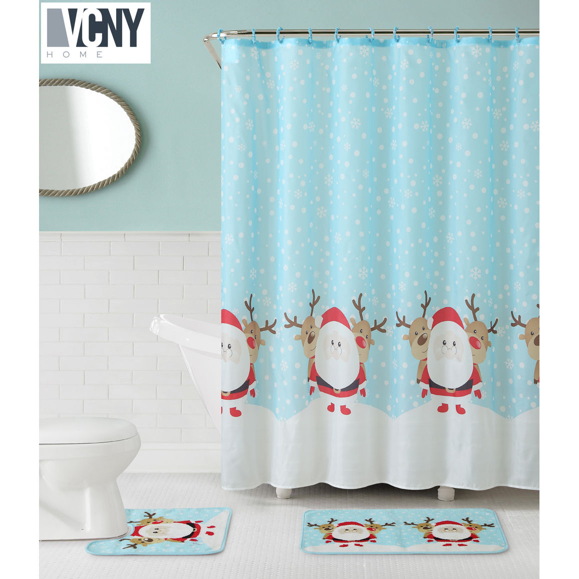 VCNY Holiday Theme Christmas Santa & Reindeer 15-piece Shower Curtain & Bath Set