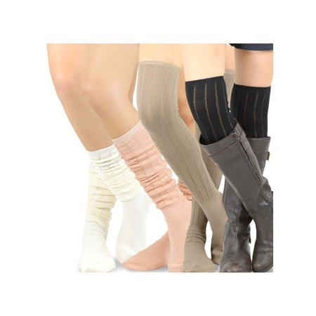Teehee Women's Fashion Pointelle Cotton Over The Knee Socks - 4 Pairs Pack (Cotton Pointelle)
