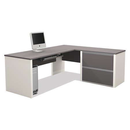 Connexion l shaped workstation in slate sandstone for Solidworks design table zoom