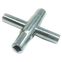 34A523 Four Way Water Key, Steel
