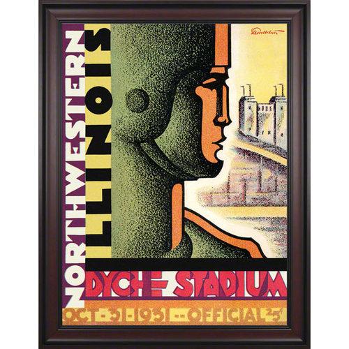 NCAA - 1931 Northwestern Wildcats vs. Illinois Fighting Illini 36 x 48 Framed Canvas Historic Football Print
