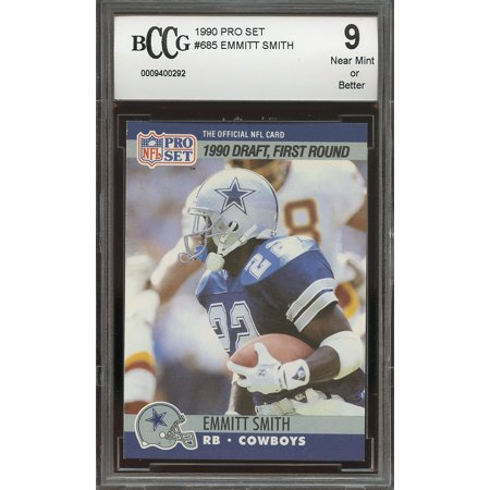 1990 pro set #685 EMMITT SMITH dallas cowboys rookie card BGS BCCG 9