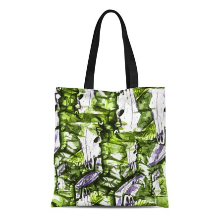 SIDONKU Canvas Tote Bag Watercolor Bull Cow Skull Broken Horn Jaw Boar Reusable Shoulder Grocery Shopping Bags Handbag