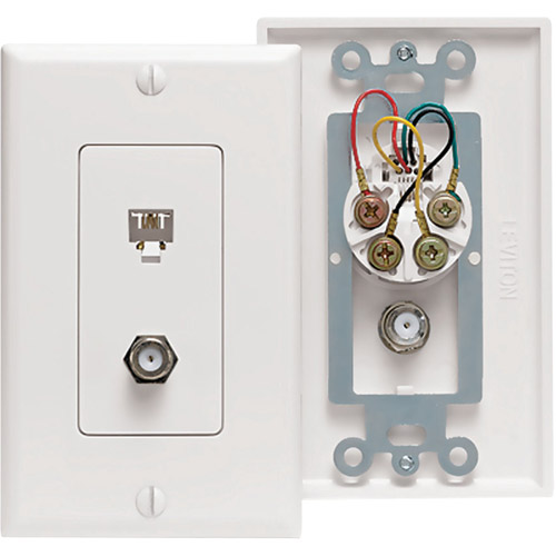 Leviton 40959-W Combo Telephone & F-Connector Wallplate White