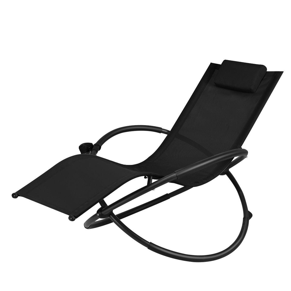 Gymax Folding Orbital frame Zero Gravity Lounge Chair w/Removable Pillow Black