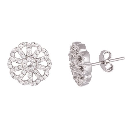 Sterling Silver Cubic Zirconia Floral Design Post