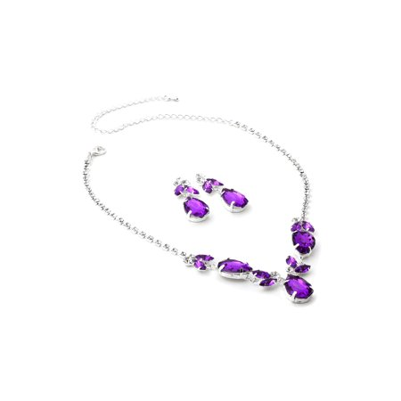 Leaf Necklace Earring Set (Silver Amethyst Teardrop with Leaf Shape Dangle Necklace & Matching Dangle Earrings Jewelry Set)