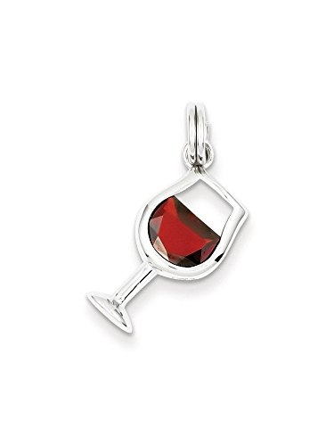 .925 Sterling Silver Antiqued Wine Glass Charm Pendant MSRP $36