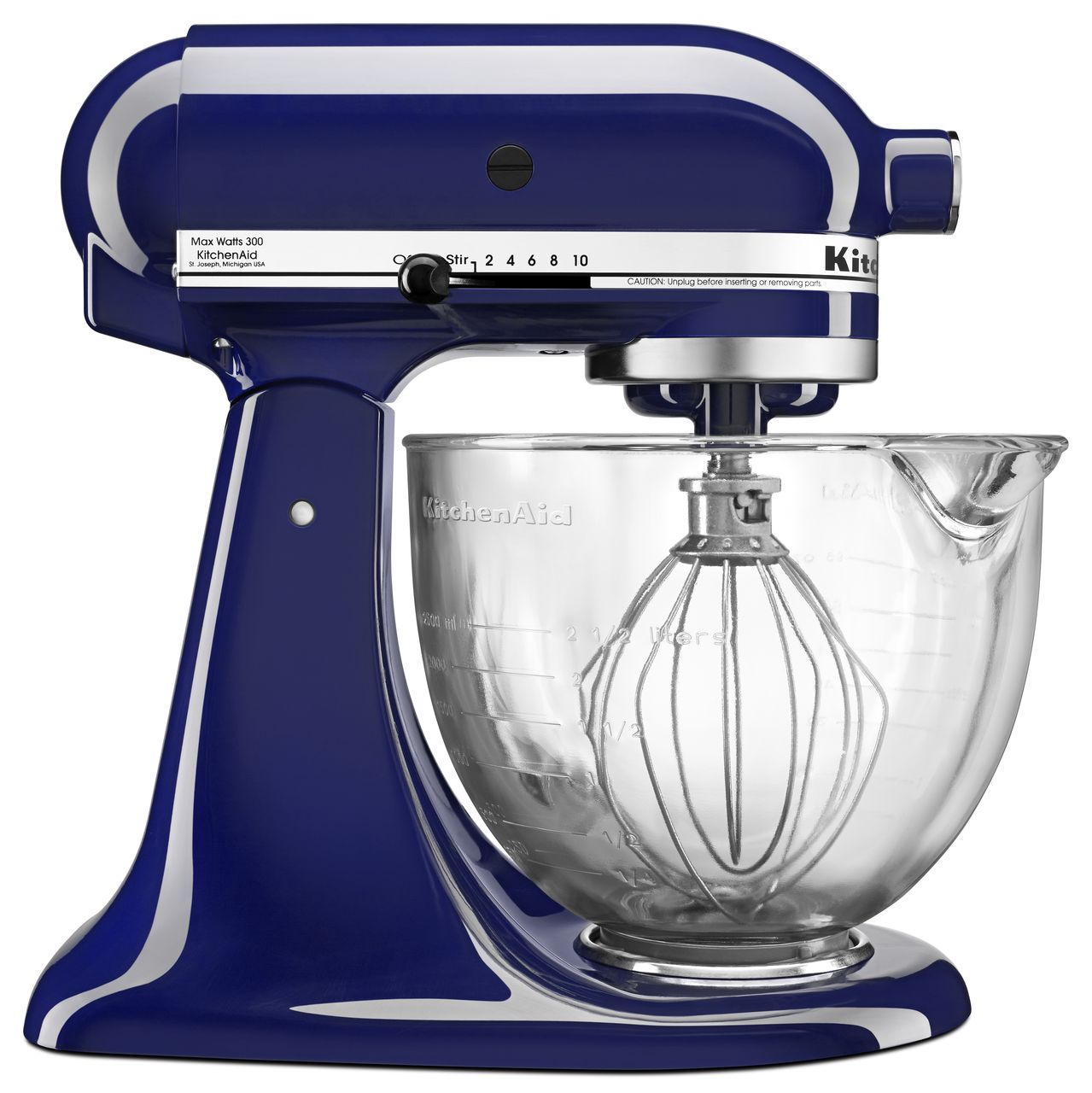 KitchenAidArtisan Series 5-Quart Tilt-Head Stand Mixer, Cobalt Blue with Glass Bowl (KSM105GBCBU) - Closeout