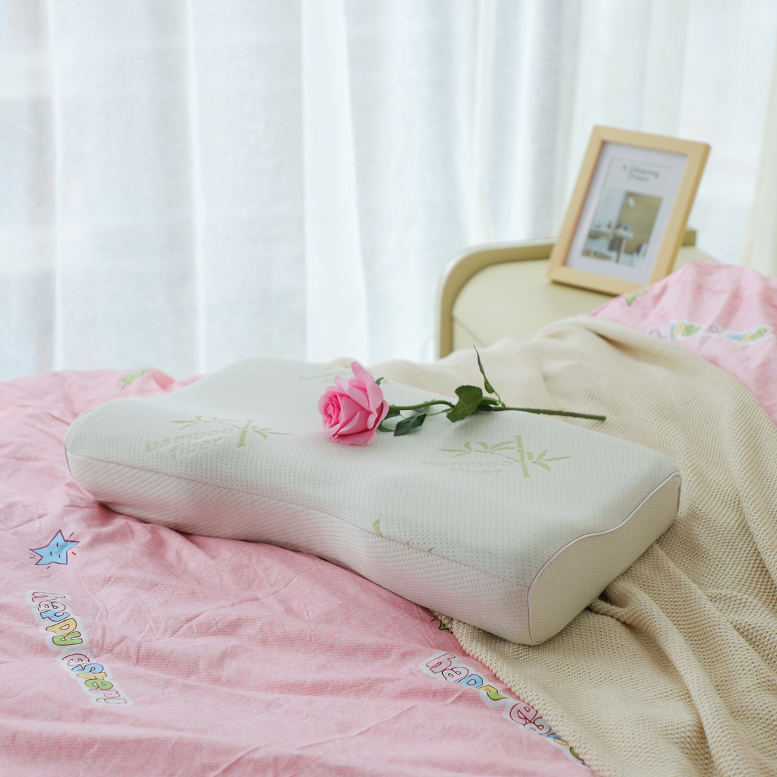 Memory Foam Standard Contour Pillow ! Bamboo Fiber for Side Back Sleepers