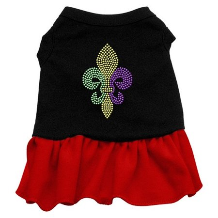 Mardi Gras Fleur De Lis Rhinestone Dress Black with Red XL (16) - Mardi Gras Dress Ideas