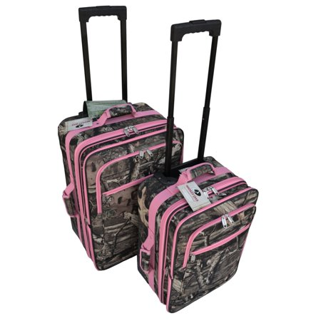 Heavy Duty Luggage - Mossy Oak Luggage Set with Pink Trim -Realtree Like- Hunting Camo Heavy Duty Luggage with Pulling Handles & 2 Wheels 20 24 2 Pcs Set