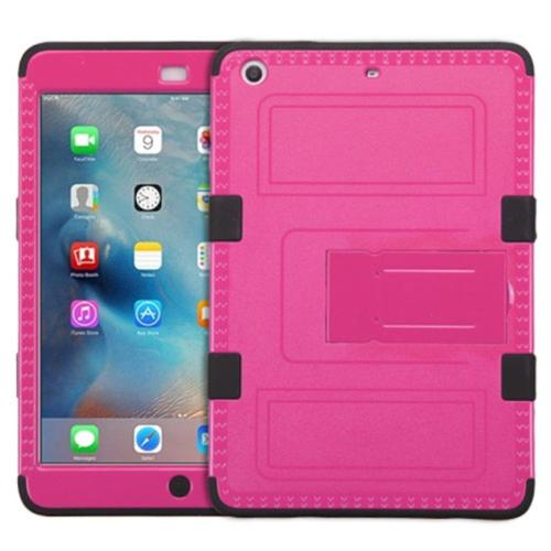 Insten Hard Dual Layer Rubberized Apple Mini 2 iPad Silicone Case with Stand - Hot Pink/Black
