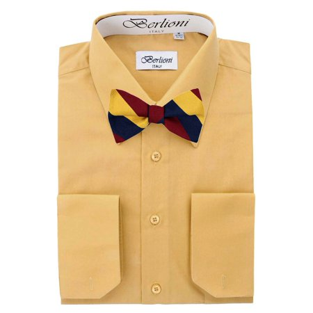 Men's Mustard Solid Dress Shirt and Self Tie Bow Tie