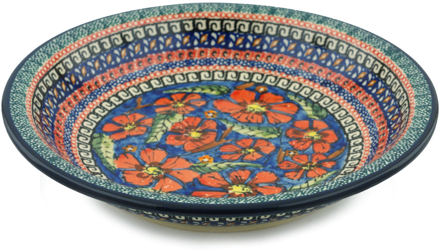 Polish Pottery 9-inch Pasta Bowl (Poppies Theme) Signature UNIKAT Hand Painted in Boleslawiec, Poland +... by Zaklady Ceramiczne