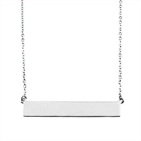 Sterling Silver Minimalist Horizontal Bar Necklace - Minimalist Everyday Necklace
