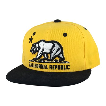 California Republic Snapback Hat Cap - Yellow White Black 2tone - The Man In The Yellow Hat