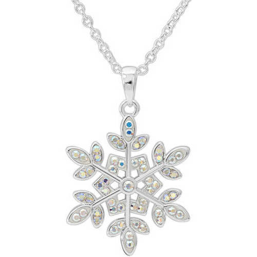 """Crystal Silver-Plated Snowflake Pendant, 18"""" Chain"""