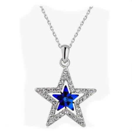 Cheap Blue Necklaces (Blue Star Crystal SilverTone Tarnish Resistant Necklace Jewelry Pendant,)