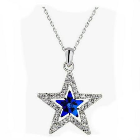 Blue Star Crystal SilverTone Tarnish Resistant Necklace Jewelry Pendant, J-395-BLUE