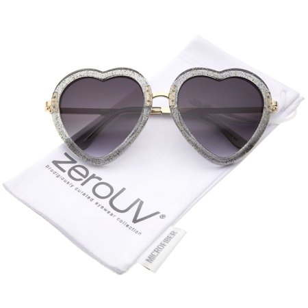 - zeroUV - Women's Transparent Glitter Frame Metal Temple Heart Shaped Sunglasses 53mm - 53mm