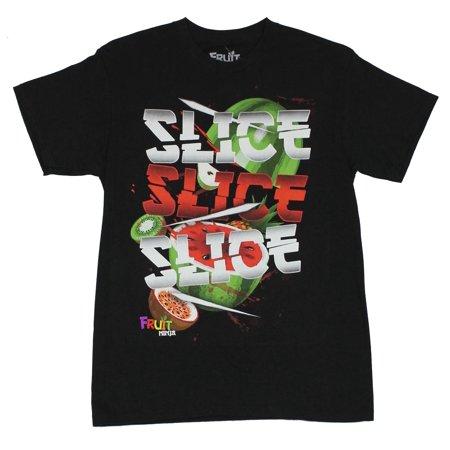 Fruit Ninja Mens T-Shirt - Slice, Slice Slice! Image on Black](Ninja Clothing For Sale)