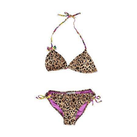 California Waves Womens Cheetah Floral Side Tie 2 Piece Bikini multi S - Cheetah Swimsuit