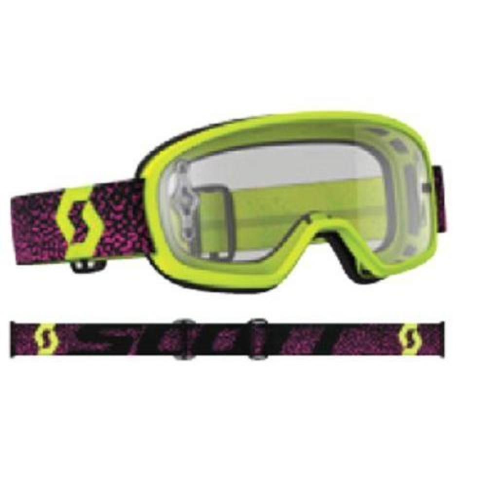 Scott Buzz Pro Youth MX Offroad Goggles Yellow/Pink/Clear