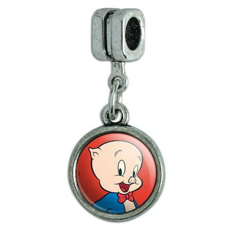 Looney Tunes Porky Pig Italian European Style Bracelet Charm Bead ()