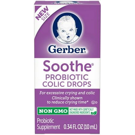 - Gerber Soothe Probiotic Colic Drops 0.34 fl. oz. Box