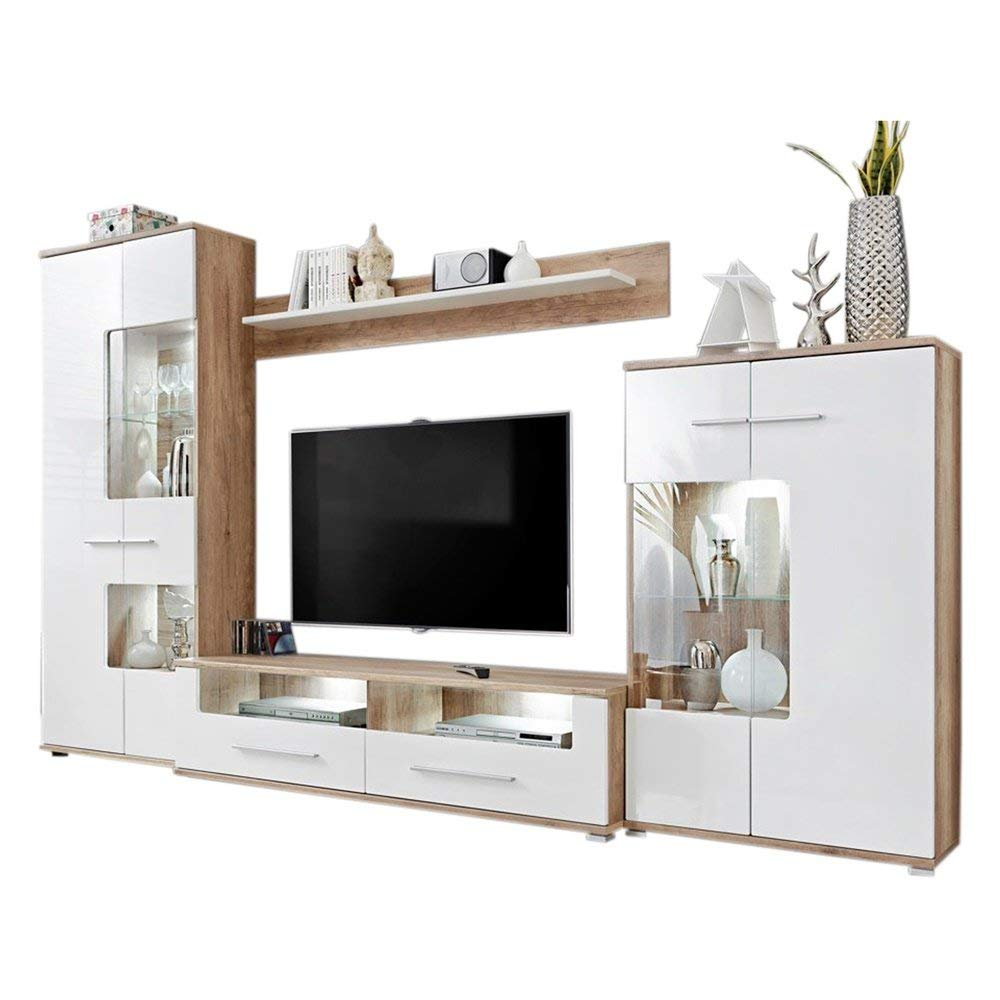 Modern 2 Entertainment Center Wall Unit TV Stand with LED Lights, Oak/White