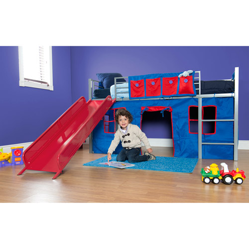 Boys Twin Loft Bed with Slide, Grey and Red