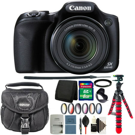 Canon PowerShot SX530 HS 16MP Digital Camera Black + Extra Battery and Top Accessory Kit