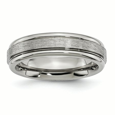 Grooved Polished Edge (Titanium Grooved Edge 6mm Satin and Polished Band)