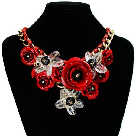 Womens Crystal Flower Statement Bib Chain Big Chunky Necklace Collar Jewelry