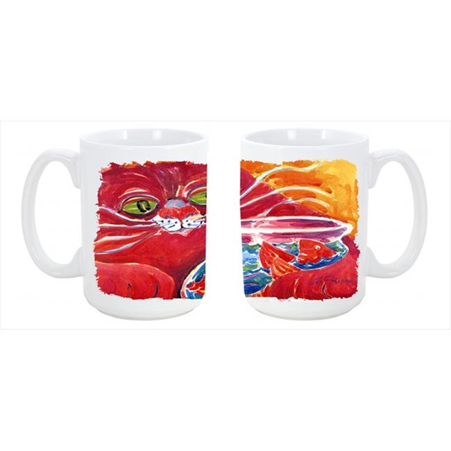 Big Red Cat at the fishbowl Dishwasher Safe Microwavable Ceramic Coffee Mug - image 1 de 1