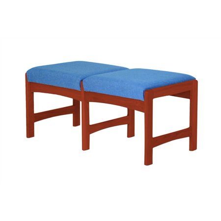 Upholstered Solid Wood Double Bench w Dark Red Mahogany Finish (Powder Blue)