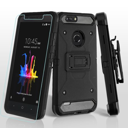 Kaleidio Case For ZTE Blade ZMax Pro 2 / Blade Z Max Z982 / Sequoia [Kinetic Armor] Rugged Holster [Belt Clip] Heavy Duty Shockproof Hybrid [Kickstand] Cover w/ Overbrawn Prying Tool [Black/Black]