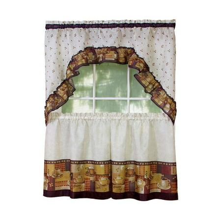Bistro Kitchen Decor (Coffee Bistro Kitchen Curtain Tier and Swag Set - 36 in.)
