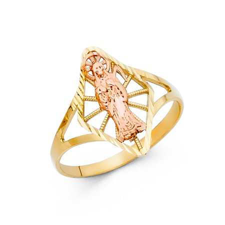 14k Two Tone Italian Solid Gold 16mm Band Marquise Santa Muerte Ring Cocktail Gift Idea Size 6.5 Available All Sizes ()