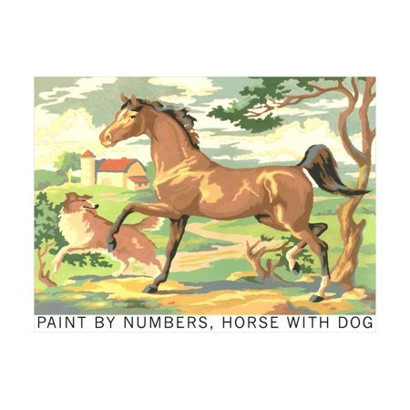 Paint by Numbers, Horse with Dog Print Wall Art By Found Image Press ()