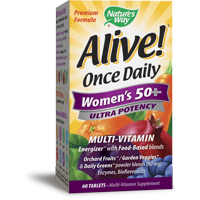 Natures Way Alive! Womens 50+ Ultra Potency Complete Multi-Vitamin Supplement Tablets 60 Count