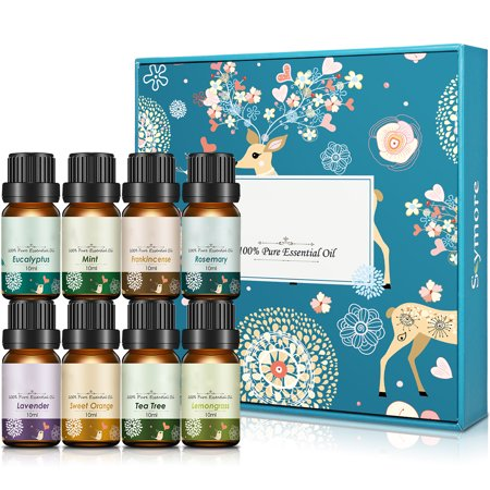 Skymore Essential Oils Set Therapeutic Grade,8x10 ml ,for Aroma Diffuser, Lemongrass, Lavender, Tea Tree, Eucalyptus, Orange, Mint, Frankincense and Rosemary
